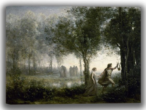Corot, Jean-Baptiste-Camille: Orpheus Leading Eurydice from the Underworld. Fine Art Canvas. Sizes: A4/A3/A2/A1 (0047)
